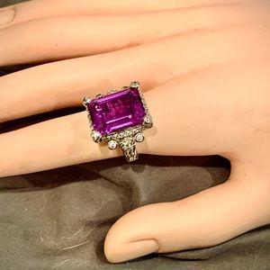 Judith Ripka sterling silver amethyst ring size 7